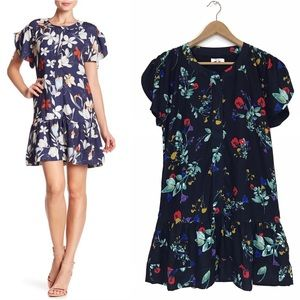 Parker Flutter Sleeve Blue Floral A-Line Dress M